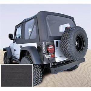 Soft Top With Clear Windows & Door Skins BLACK DENIM For 1997-02 Jeep Wrangler TJ